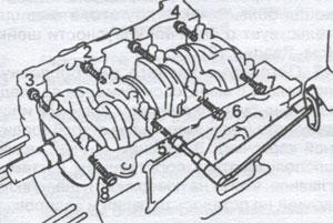 Горизонтальный крепеж крышек коренных подшипников Toyota Camry